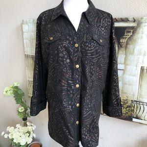 Jm Collection Button Down Printed Jacket
